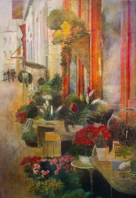 Flowers Art Print featuring the painting Fleuriste by Victoria Heryet