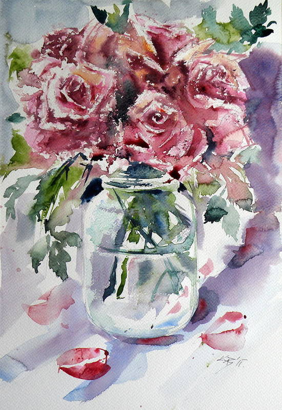 Flower Art Print featuring the painting Flowers From The Garden by Kovacs Anna Brigitta