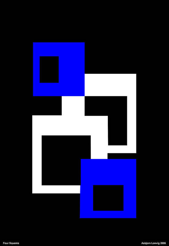 Four Squares Art Print featuring the digital art Four Squares by Asbjorn Lonvig