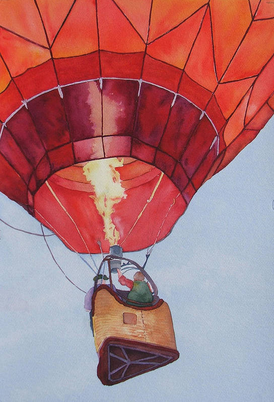 Balloons Art Print featuring the painting Full Of Hot Air by Judy Mercer