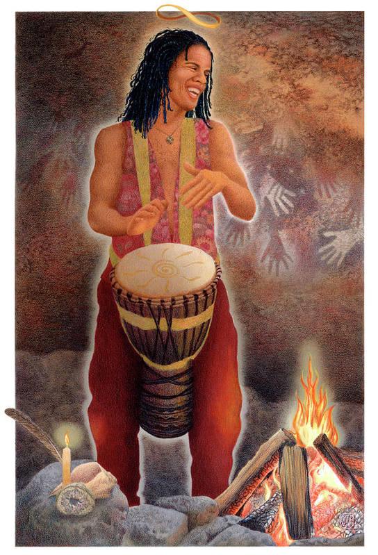 Tarot Art Print featuring the painting Gaian Tarot Magician by Joanna Powell Colbert