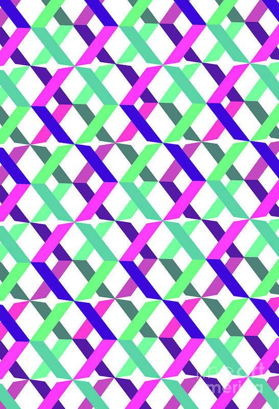 Crosses Art Print featuring the digital art Geometric Crosses by Louisa Knight