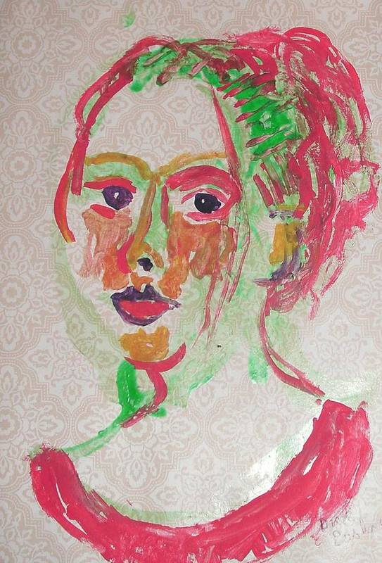 Face Art Print featuring the painting Girl In Red by Dick Eustice