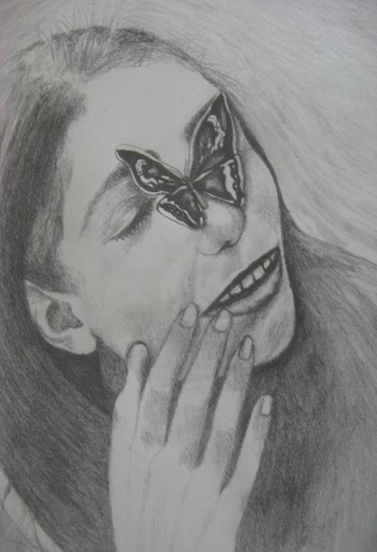 Girl Art Print featuring the drawing Girl With Butterfly  by Theodora Dimitrijevic
