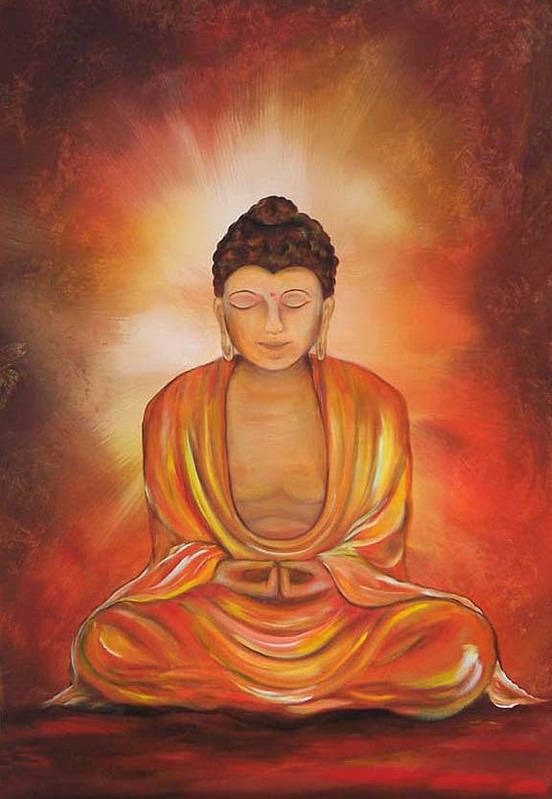 Buddha Art Print featuring the painting Glowing Buddha by Sundara Fawn