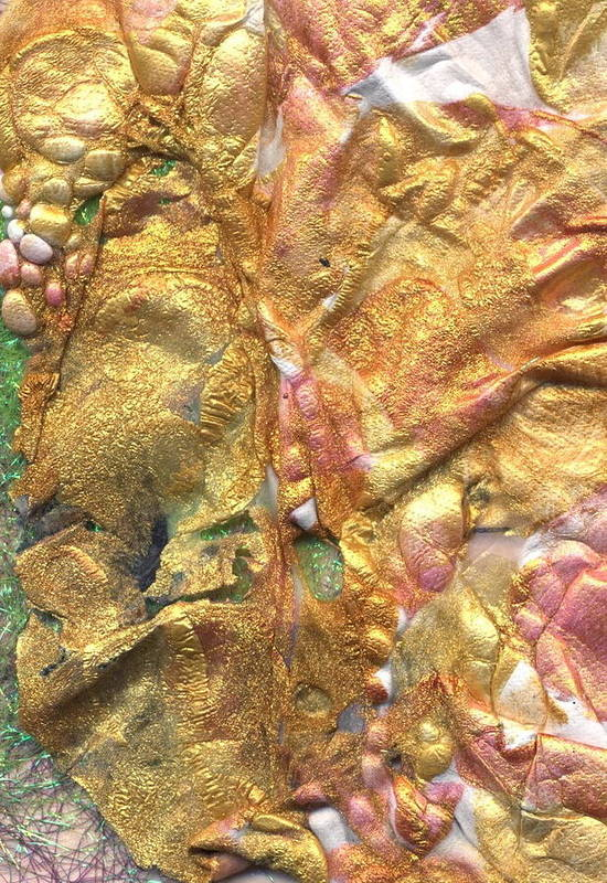 Abstract Art Print featuring the mixed media Golden Mask by Jan Bennicoff