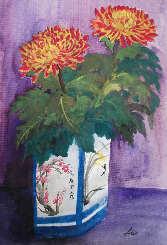 Flowers Art Print featuring the painting Golden Wishes by Lian Zhen