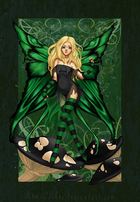 Poison Art Print featuring the digital art Green Fairy Of Poison by KimiCookie Williams