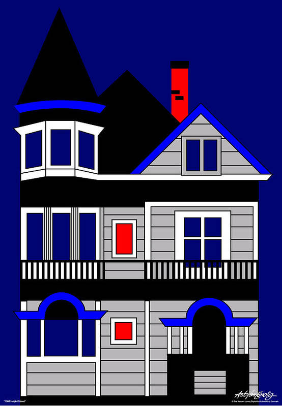 Victorian House Art Print featuring the painting Haight Street San Francisco by Asbjorn Lonvig