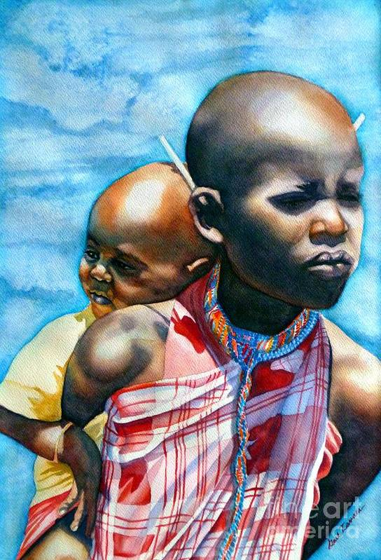 Portrait Art Print featuring the painting He Ain't Heavy...he's My Brother by Gail Zavala