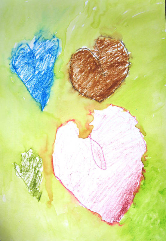 Hearts Art Print featuring the mixed media Hearts by Teri Ann Foley