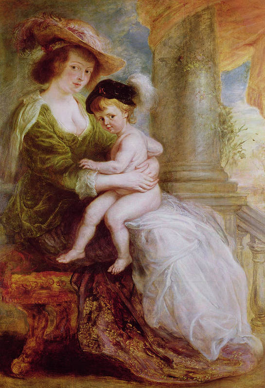 Helene Art Print featuring the painting Helene Fourment And Her Son Frans by Rubens