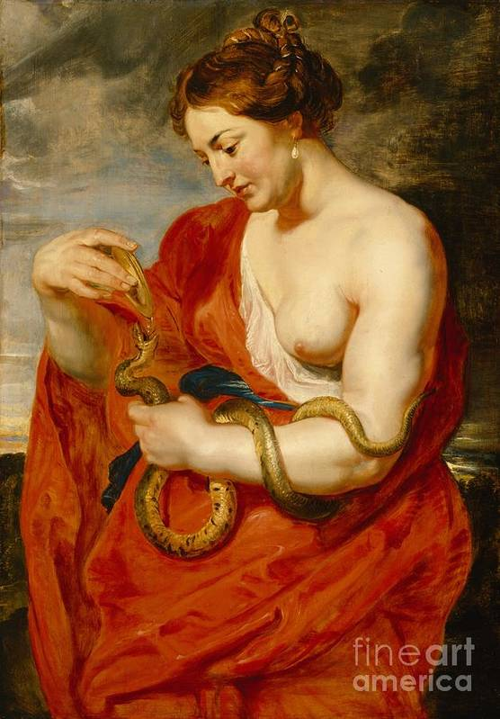 Hygeia Art Print featuring the painting Hygeia - Goddess Of Health by Peter Paul Rubens