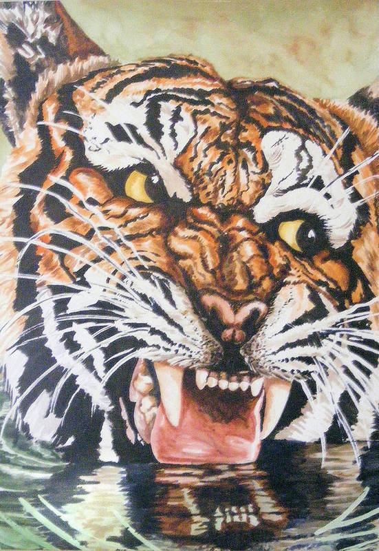 Tiger Art Print featuring the painting Im Drinking Here by Donald Dean