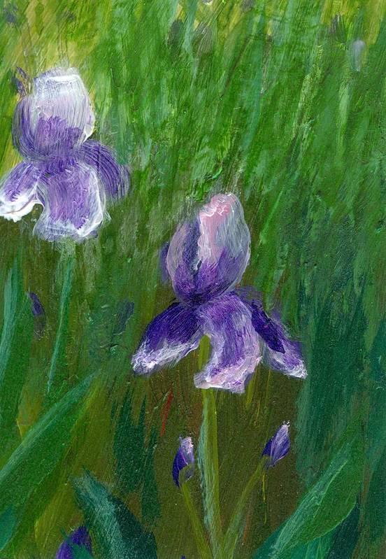 Iris Art Print featuring the painting Iris Garden by Wanda Pepin