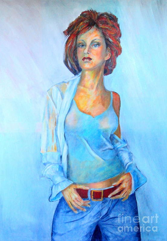 Beauty Art Print featuring the painting Lady In Blue II by Dagmar Helbig