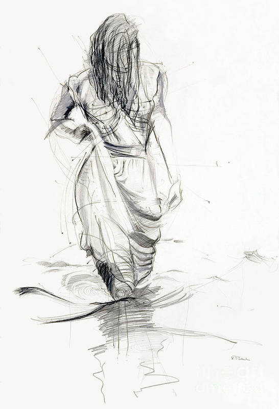 Woman Art Print featuring the drawing Lady In The Waters by Kerryn Madsen-Pietsch