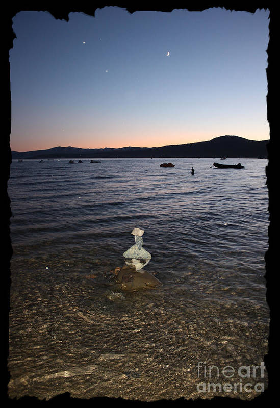 Lake Tahoe Art Print featuring the photograph Lake Tahoe Sunset With Rocks And Black Framing by Carol Groenen