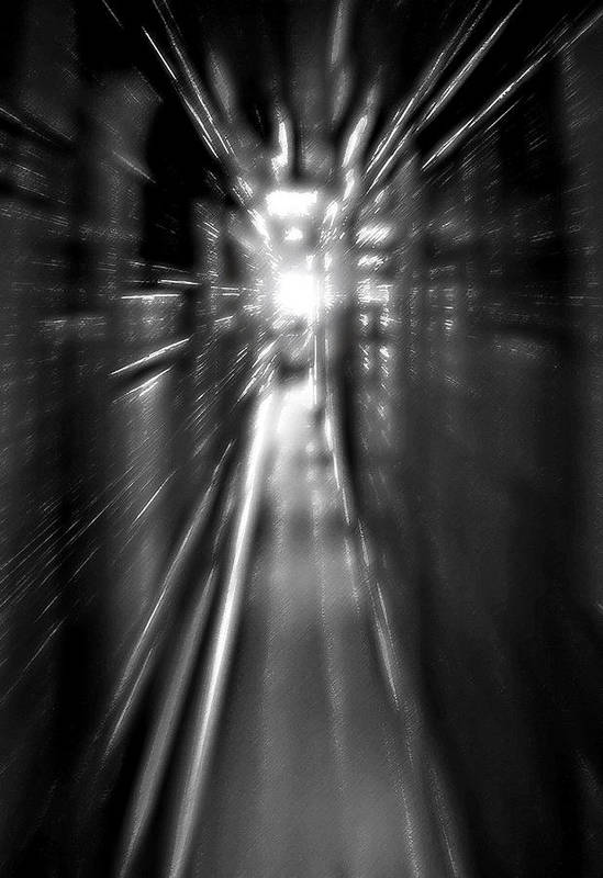 Light Art Print featuring the photograph Light At The End Of The Tunnel 1 - Black And White by Steve Ohlsen