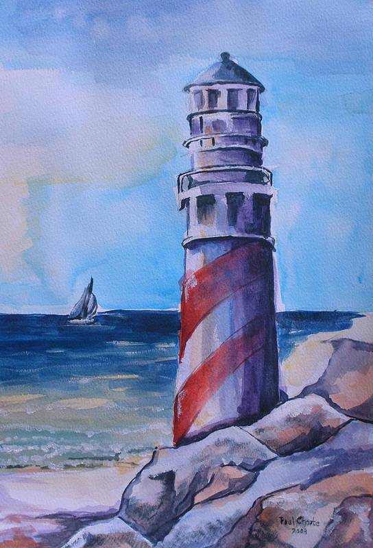 Lighthouse Art Print featuring the painting Lighthouse by Paul Choate