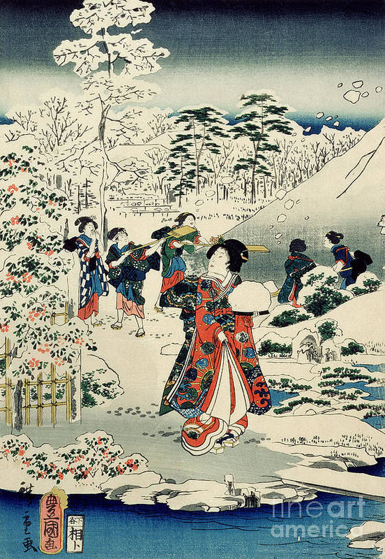 Maids In A Snow-covered Garden Print featuring the painting Maids In A Snow Covered Garden by Hiroshige