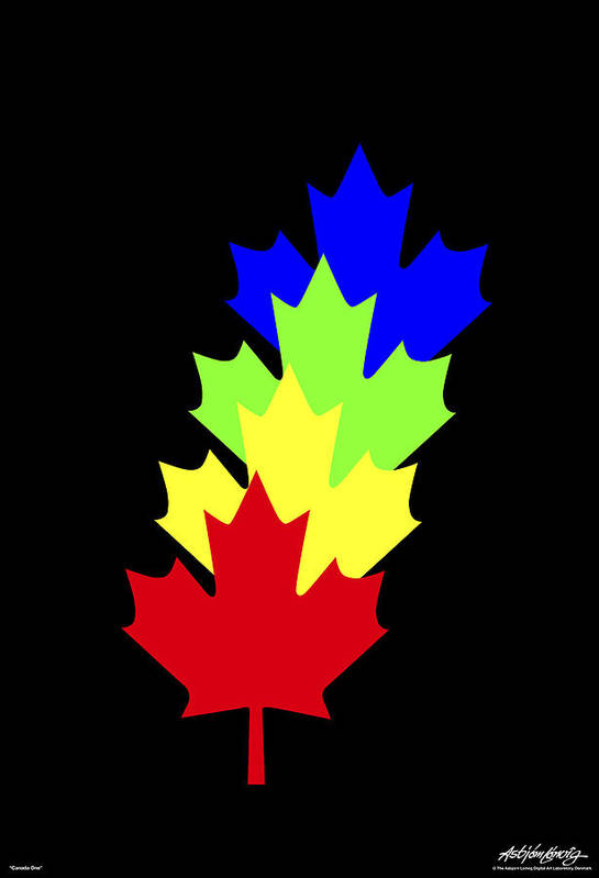 Maple Leaves Art Print featuring the painting Maple Leaves by Asbjorn Lonvig