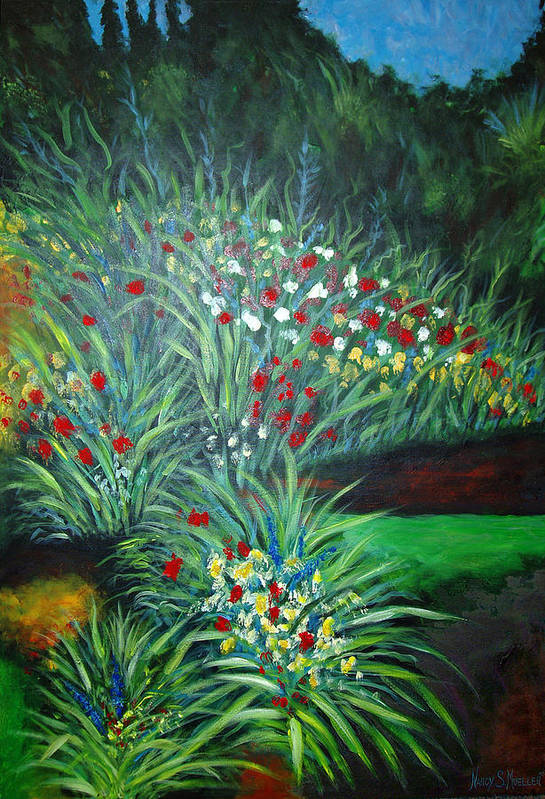 Landscape Art Print featuring the painting Maryann's Garden 3 by Nancy Mueller