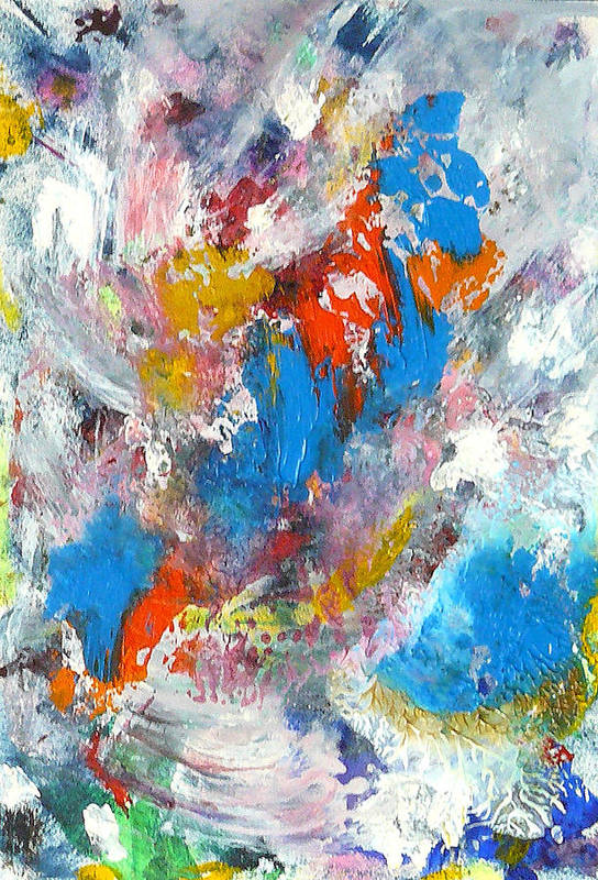 Abstract Art Print featuring the painting Monte Carlofireworks 2 by Greg Gierlowski