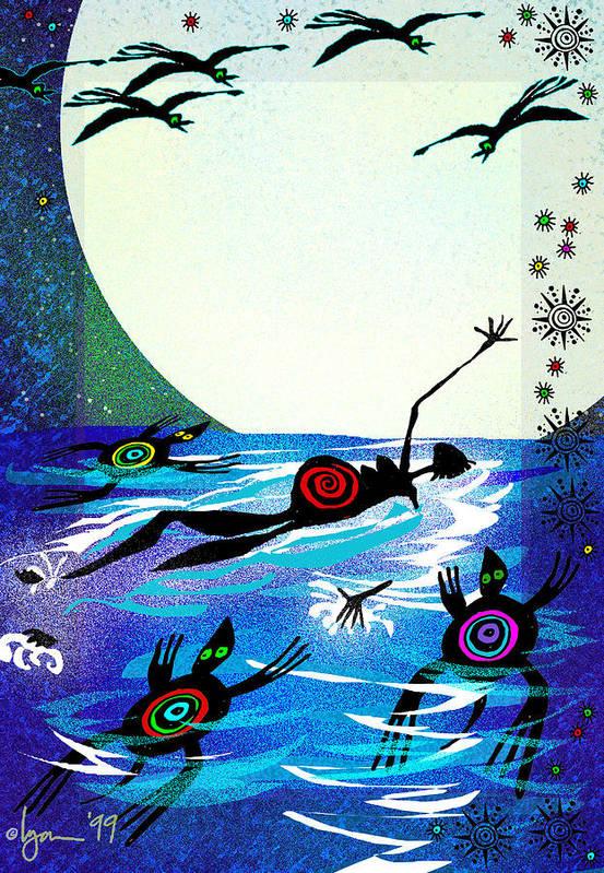 Land Of Ammaze Art Print featuring the painting Moonlight Swim by Angela Treat Lyon