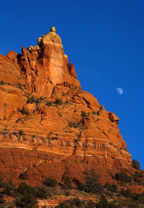 Moonrise Art Print featuring the photograph Moonrise Over Red Rock by Mike Dawson