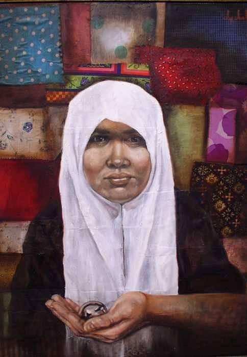 Muslim Art Print featuring the painting Muslim Woman by Ixchel Amor