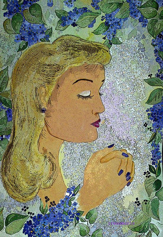 Lilac Prayer Art Print featuring the painting My Prayer by Irenemaria Amoroso