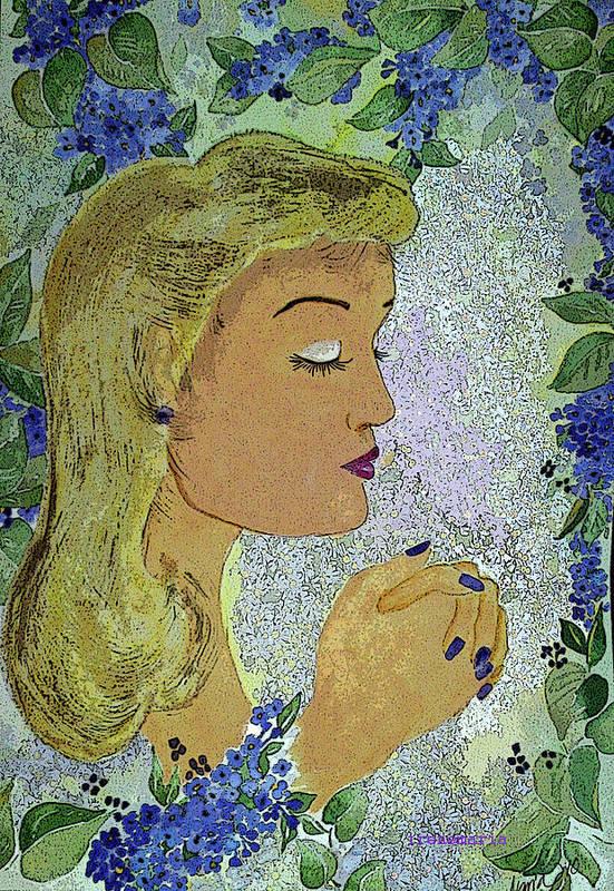 Lilac Prayer Art Print featuring the painting My Prayer by Irenemaria