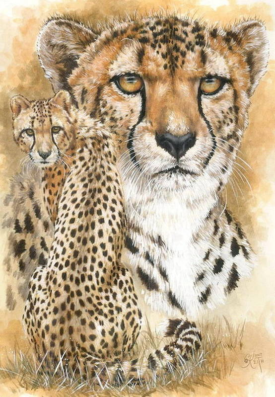 Cheetah Art Print featuring the mixed media Nimble by Barbara Keith