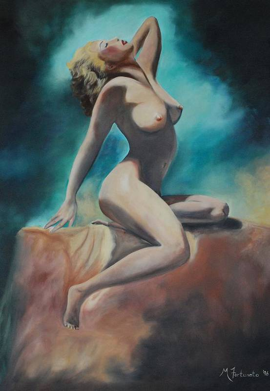 Nude Art Print featuring the painting Nude by Margaret Fortunato