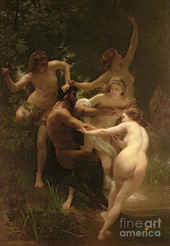 Nymphs And Satyr Art Print featuring the painting Nymphs And Satyr by William Adolphe Bouguereau