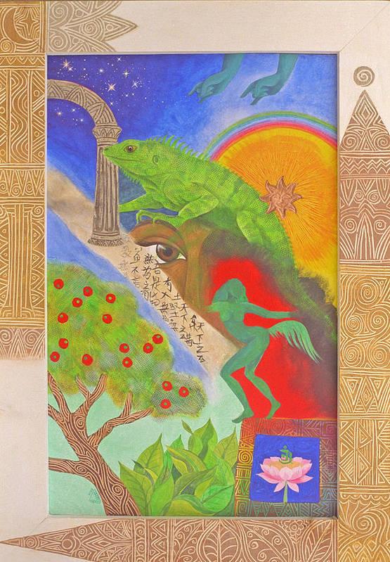 Mystical Spiritual Tropical Iguana Tao Lotus Flower Art Print featuring the painting Ode by Jennifer Baird