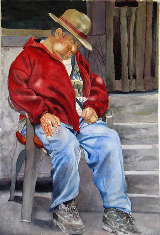 Man Art Print featuring the painting Old Man Resting by Libby Cagle