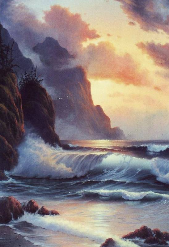 Sunset Of Oregon Coast  Seascape Art Print featuring the painting Oregon Sunset by Lynne Parker