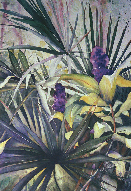 Palms Art Print featuring the painting Palms And Hyacinths by Leah Wiedemer