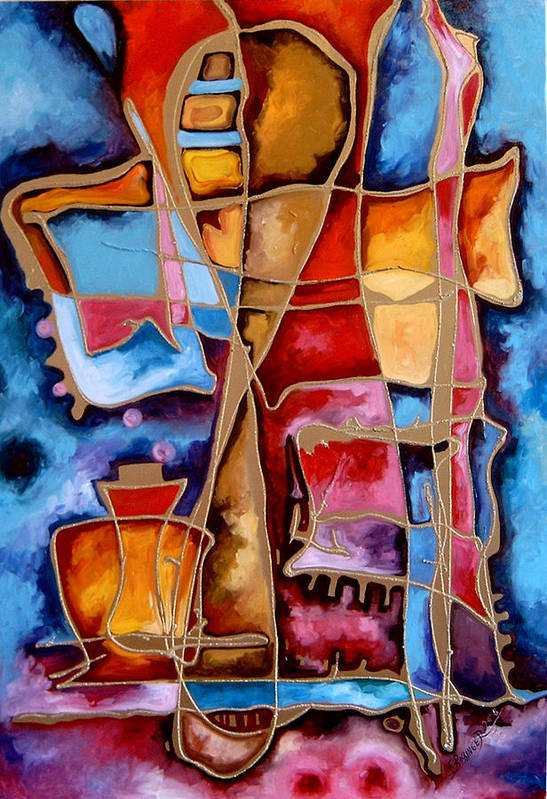 Abstract Art Print featuring the painting Pocalul De Nisip by Elena Bissinger