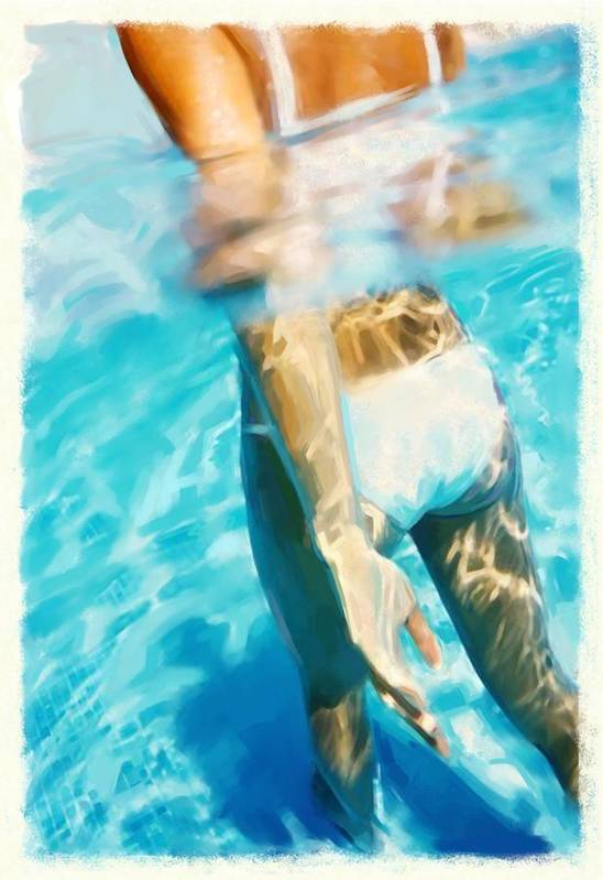 Summer Art Print featuring the painting Pool Lady by Thomas Hansen