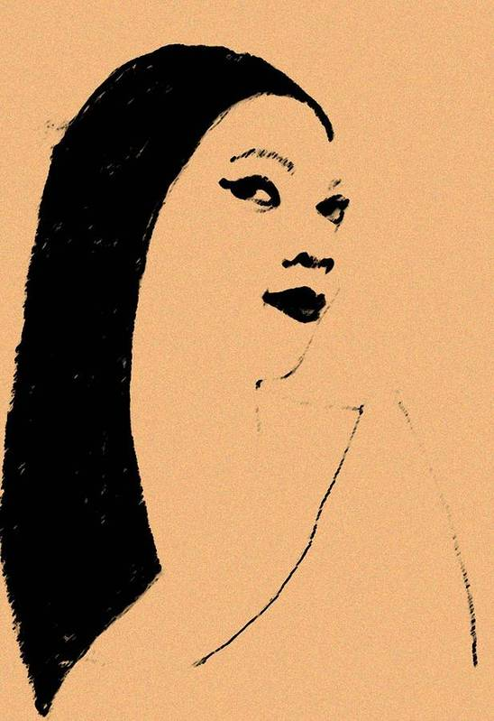 Woman Art Print featuring the drawing Queen Of Cool by Jennifer Ott
