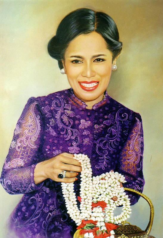 Oil Art Print featuring the painting Queen Sirikit2 by Chonkhet Phanwichien