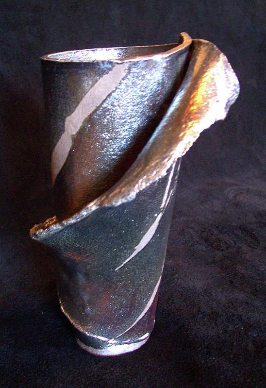 Raku Art Print featuring the ceramic art Raku Slab Wrapped Vase by Carolyn Coffey Wallace