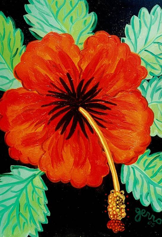 Hibiscus Artwork Art Print featuring the painting Red Hibiscus by Helen Gerro