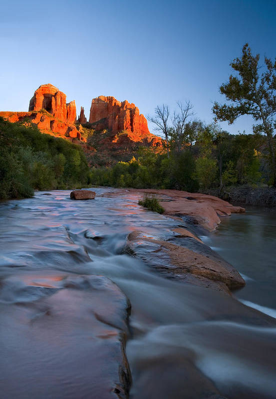 Cathedral Rock Art Print featuring the photograph Red Rock Sunset by Mike Dawson