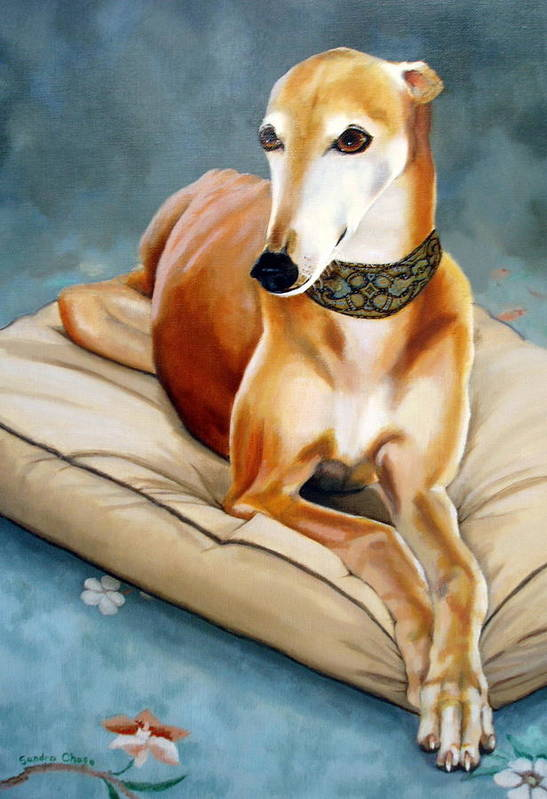 Greyhound Art Print featuring the painting Rescued Greyhound by Sandra Chase