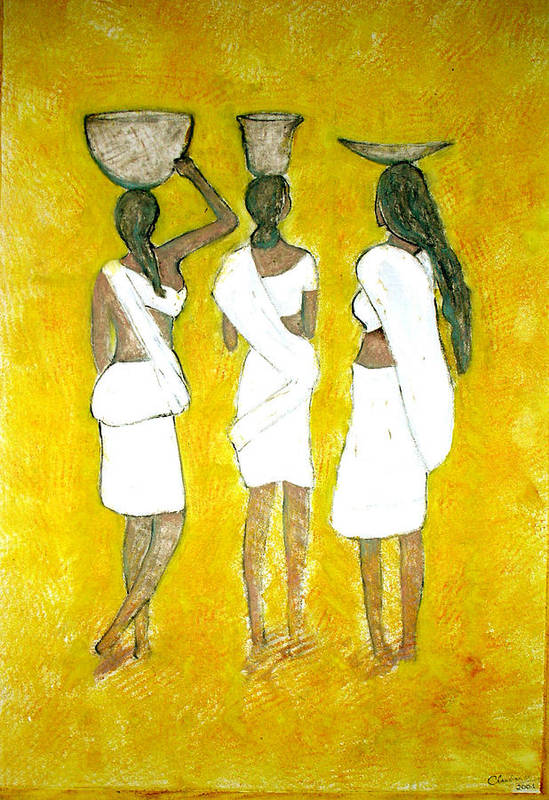 Women Art Print featuring the painting Return From Market by Narayanan Ramachandran
