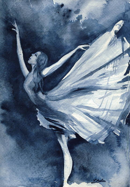 Ballet Art Print featuring the painting Rhapsody In Blue by L Lauter